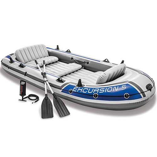 10. Intex Excursion 5, 5-Person Inflatable Boat Set with Aluminum Oars and High Output Air Pump (Latest Model)