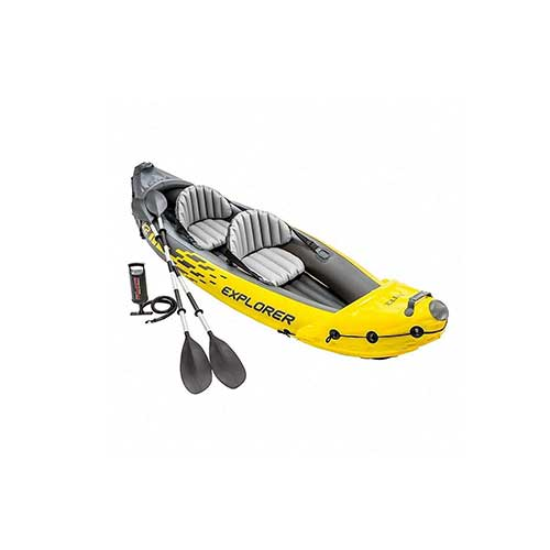 6. Intex Explorer K2 Yellow 2 Person Inflatable Kayak with Aluminum Oars & Air Pump