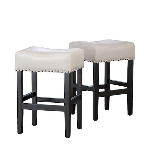 10. Christopher Knight Home 238557 Chantal Backless Ivory Leather Counter Stools