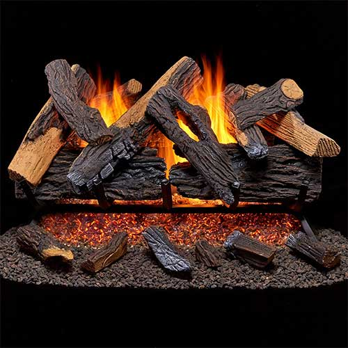 9. Duluth Forge Vented Natural Fireplace Set-30 in, 65,000 BTU, Heartland Gas logs 30 Oak