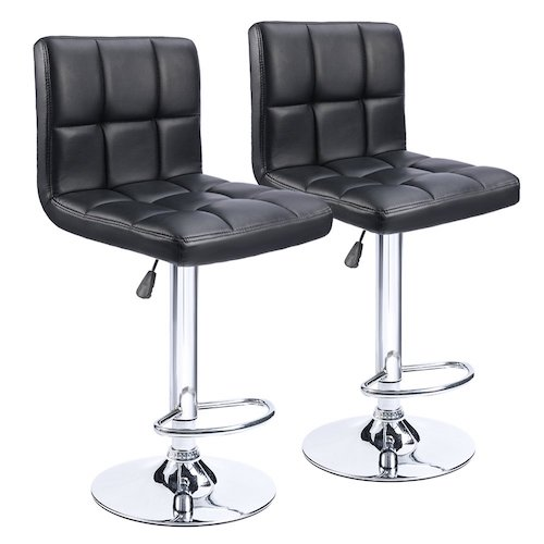 2. Homall Modern PU Leather Adjustable Swivel Barstools