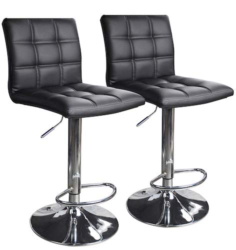 4. Modern Square PU Leather Adjustable Bar Stools