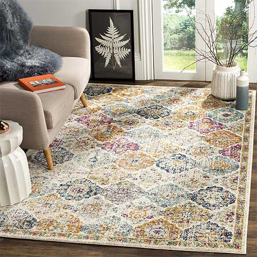 7. Safavieh Madison Collection MAD611B Cream and Multicolored Bohemian Chic Distressed Area Rug