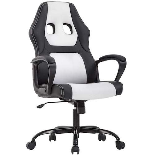 3. Office Chair PC Gaming Chair Ergonomic Racing Desk Chair Executive Task Computer Chair, White by BestOffice