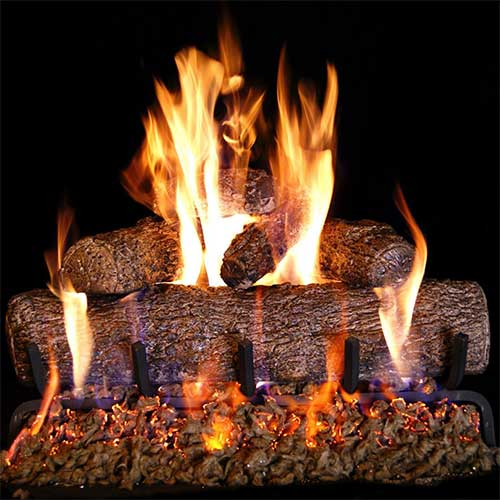 2. Peterson Real Fyre 24-inch Live Oak Log Set with Vented Burner and Gas Connection Kit. Match Lit (Natural Gas Only)