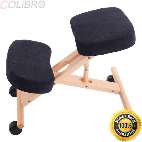 7. COLIBROX--Ergonomic Kneeling Chair Wooden Adjustable Mobile Padded Seat and Knee Rest New
