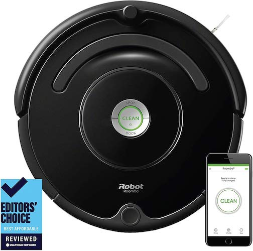 1. iRobot Roomba 675 Robot Vacuum-Wi-Fi Connectivity, Works with Alexa, Good for Pet Hair, Carpets, Hard Floors, Self-Charging
