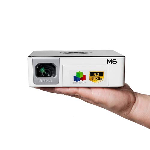 9. AAXA M6 Full HD Micro LED Projector with Built-In Battery Native 1920x1080p Fhd Resolution (Renewed)
