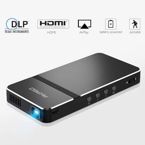 9. Pico Projector, AKASO Mini Projector Portable 1080P HD for iPhone/ Android/ Laptop/ PC/ Game/ Home Theater