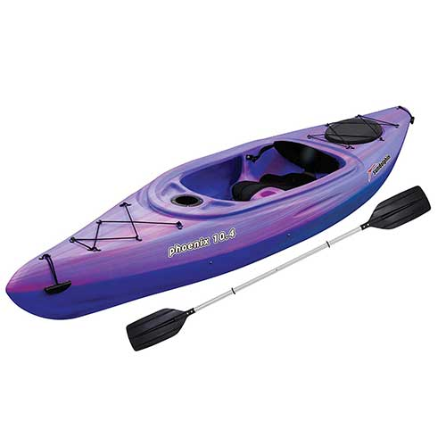 7. SUN Dolphin Phoenix 10.4 Fishing Holiday Vacation River Lake Sit-in Kayak, Paddle Included (Pink/Purple)