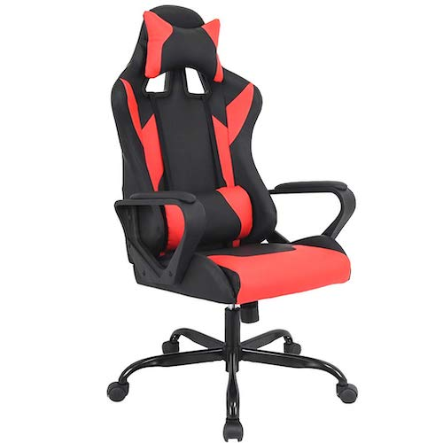 6. Gaming Chair Racing Chair Office Chair Ergonomic High-Back Leather Chair Reclining Computer Desk Chair Executive, (Red) by BestMassage