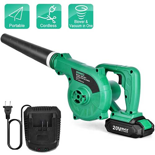 2. Cordless Leaf Blower - KIMO 20V Lithium 2-in-1 Sweeper/Vacuum 2.0 AH Battery