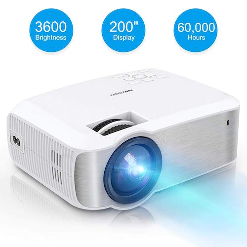 4. Video Projector, TOPVISION Full HD LED Projector with 3600Lux 2019 Upgraded, 60,000 Hrs Home Movie Projector