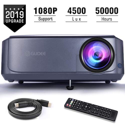 6. Projector, GuDee Full HD Video Projector for Business PowerPoint Presentations, 1080P Home Movie Projector by GuDee