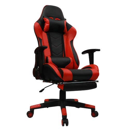 9. Kinsal Gaming Chair with Footrest Racing Style High-Back PU Leather Office Chair with Headrest and Massage Lumbar Support (Red)