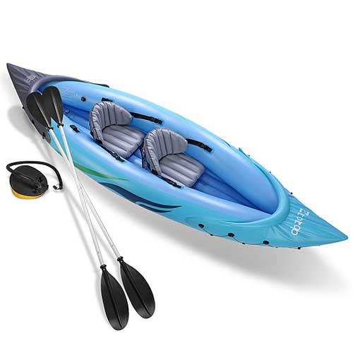 2. Ztotop 2-Person Inflatable Kayak Set with Inflatable Boat,Two Aluminum Oars and High Output Air Foot Pump