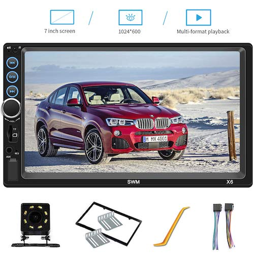 7. 7 Inch Double Din Car Stereo Compatible with Bluetooth Headunit TF USB FM Aux-in Radio Audio Touchscreen MP5 Player Receiver