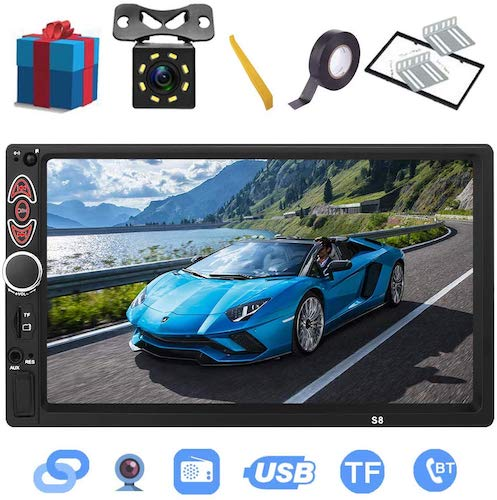 4. Double Din Car Stereo-7 inch Touch Screen, Compatible with BT TF USB MP5/4/3 Player FM Car Radio