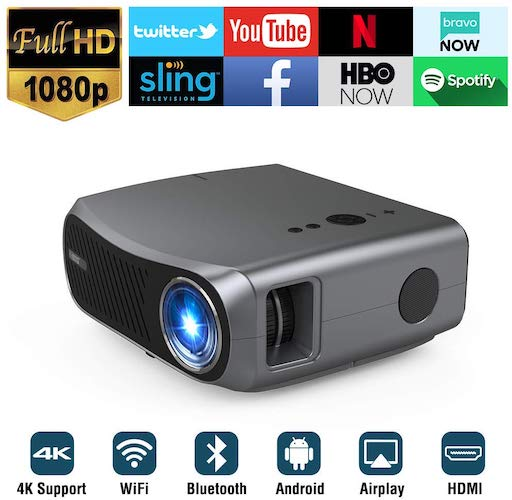 8. Full HD WiFi Bluetooth Projector 1080P Native Support 4K, 5500 Lumen LED Smart Android Wireless Home Outdoor Business Projector