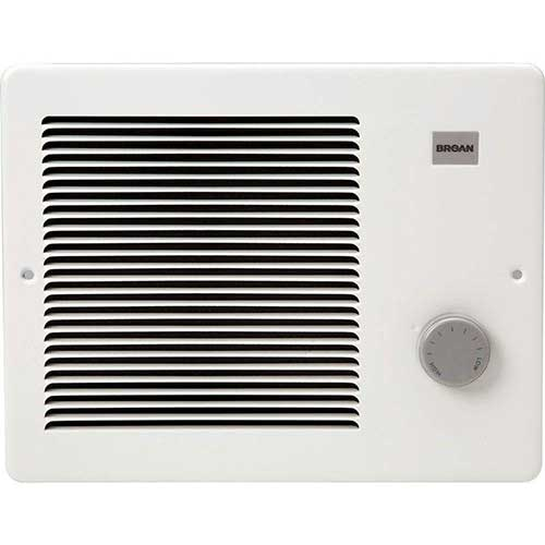 8. Broan Wall Heater, White Grille Heater with Built-In Adjustable Thermostat, 750/1500W, 120/240V AC