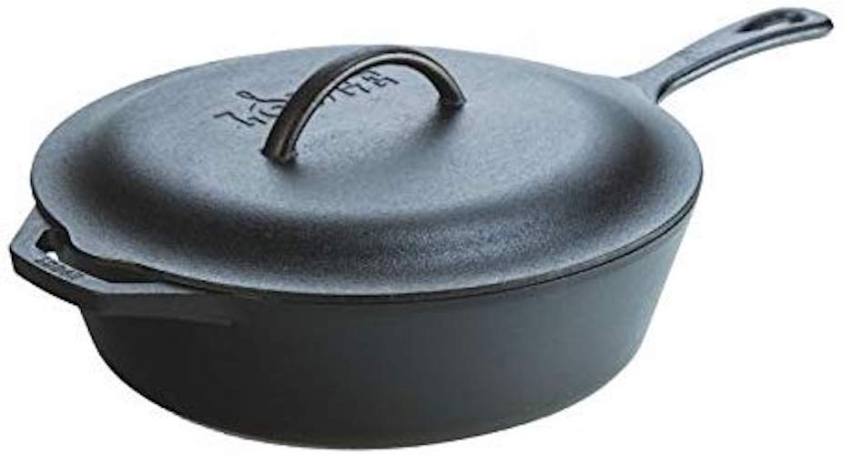 9. Lodge L10CF3 Cast Iron Covered Deep Skillet