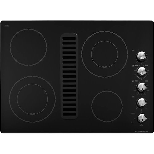 5. KitchenAid Architect Series II KECD807XBL 30 Smooth top Electric Cooktop, 400 CFM downdraft