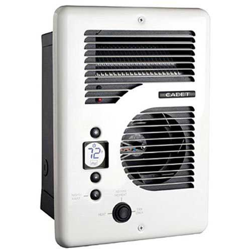 9. Cadet CEC163TW Energy Plus multi-watt 120/240V wall heater with electronic thermostat, white