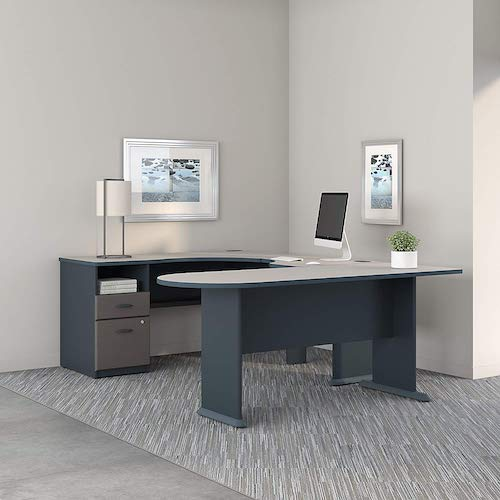 8. Series A U Shaped Corner Desk with Peninsula and Storage