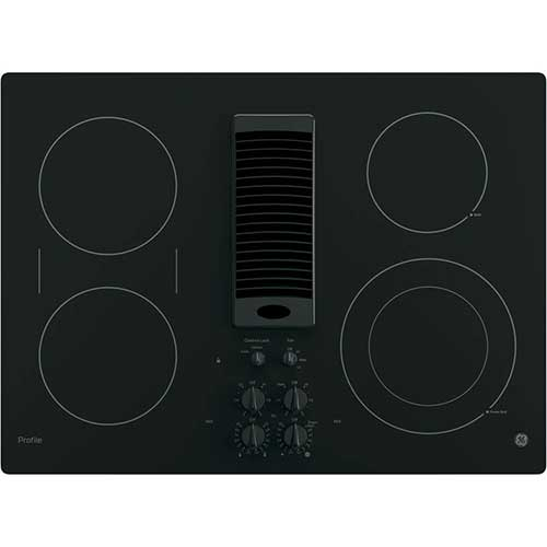 1. GE PP9830DJBB 30 Inch Smoothtop Electric Cooktop with 4 Burners, 3-Speed Downdraft Exhaust System
