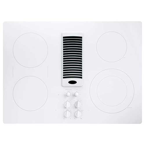 4. GE PP9830TJWW 30 Inch Smoothtop Electric Cooktop with 4 Burners, 3-Speed Downdraft Exhaust System