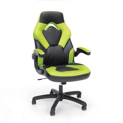 2. OFM Essentials Collection Racing Style Bonded Leather Gaming Chair (ESS-3085-GRN)