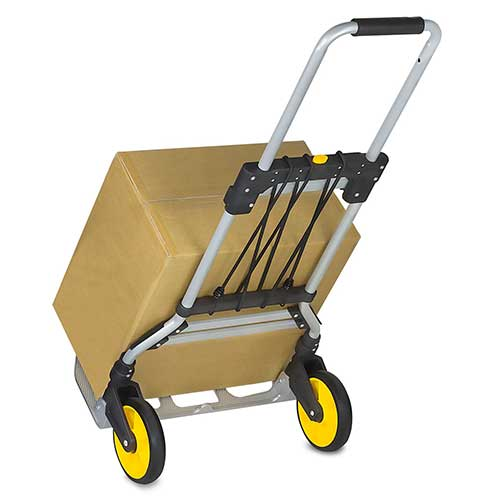 Best Hand Truck for Stairs 8. Mount-It! Folding Hand Truck and Dolly, 264 Lbs. Capacity Heavy-Duty Luggage Trolley Cart With Telescoping Handle and Rubber Wheels, Silver, Black, Yellow,