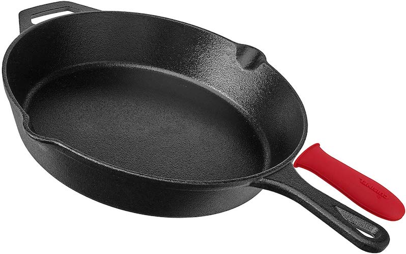 10. Pre Seasoned Cast Iron Skillet (8-Inch) with Handle Cover - Oven Safe Cookware - Indoor and Outdoor Use