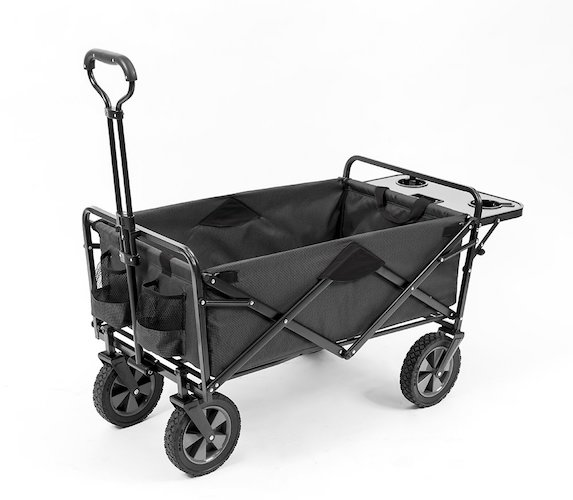 2. Mac Sports Collapsible Outdoor Utility Wagon with Folding Table and Drink Holders, Gray