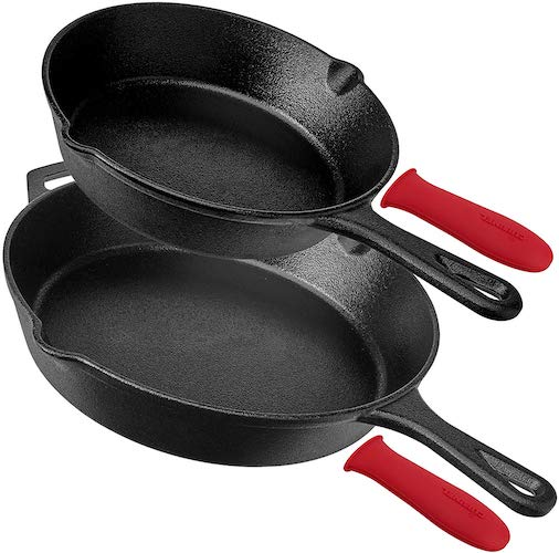 4. Pre-Seasoned Cast Iron Skillet 4-Piece Complete Chef Set (6-Inch 8-Inch 10-Inch 12-Inch) Oven Safe Cookware