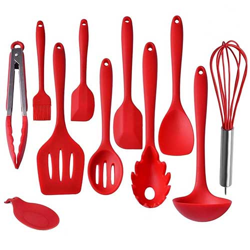 Best Silicone Kitchen Utensils 7. IMLUCKY Kitchen Utensils, Silicone Heat-Resistant Non-Stick Kitchen Utensil Set Cooking Tools 10+1 Piece
