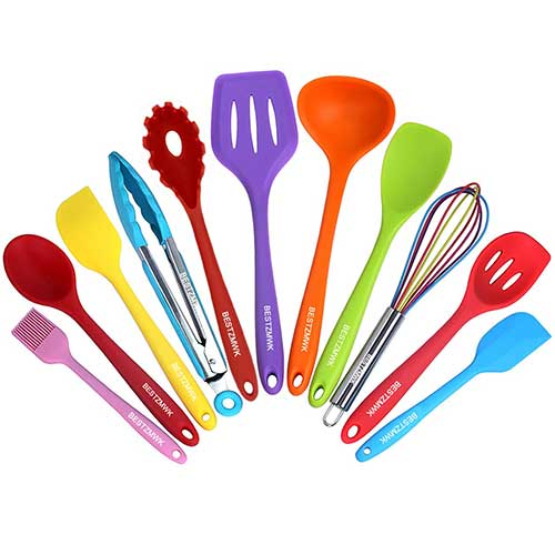Best Silicone Kitchen Utensils 5. Kitchen Utensil Set - 11 Cooking Utensils - Colorful Silicone Kitchen Utensils - Nonstick Cookware with Spatula Set