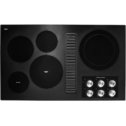 4. KitchenAid KCED606GBL 36 Black 5 Burner Electric Downdraft Cooktop