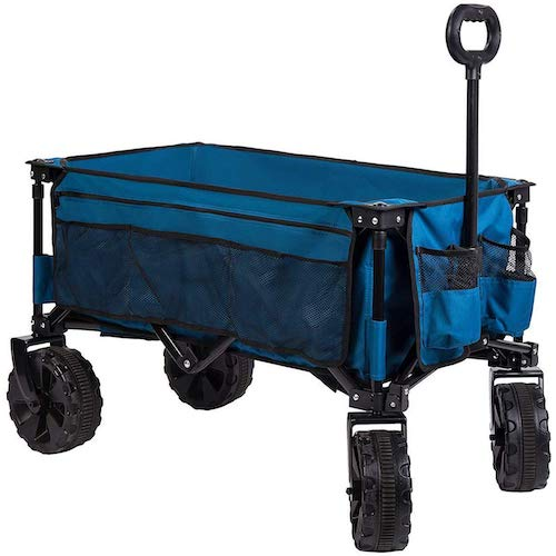 5. Timber Ridge Folding Camping Collapsible Sturdy Steel Frame Garden/Beach Wagon/Cart Heavy Duty, Blue-Side Bag