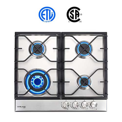8. Gas Cooktop, Gasland chef GH60SF 24'' Built-in Gas Cooktop, Stainless Steel LPG Natural Gas Cooktop, Thermocouple Protection