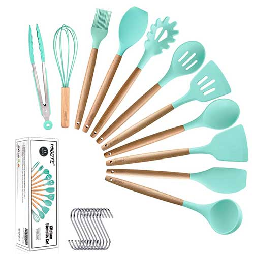 Best Silicone Kitchen Utensils 3. MIBOTE 11pcs Silicone Cooking Kitchen Utensils Set, Bamboo Wooden Handles Cooking Tool BPA Free Non Toxic