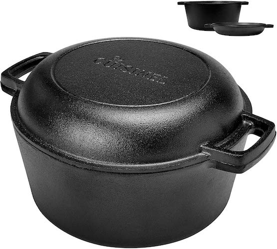 6. Pre-Seasoned Cast Iron Skillet and Double Dutch oven Set