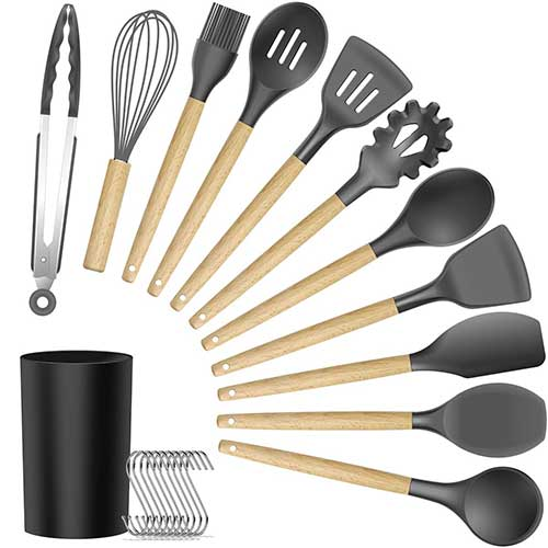 Best Silicone Kitchen Utensils 10. Silicone Cooking Utensils Kitchen Utensil Set - 11 Pieces Natural Wooden Handles Cooking Tools Turner Tongs Spatula Spoon