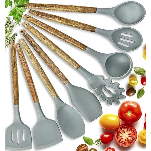 Best Silicone Kitchen Utensils 2. Home Hero Silicone Cooking Utensils Kitchen Utensil Set - 8 Natural Acacia Wooden Silicone Kitchen Utensils Set