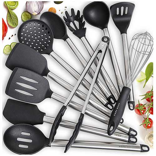 Best Silicone Kitchen Utensils 1. Home Hero 11 Silicone Cooking Utensils Kitchen Utensil Set - Stainless Steel Silicone Kitchen Utensils Set