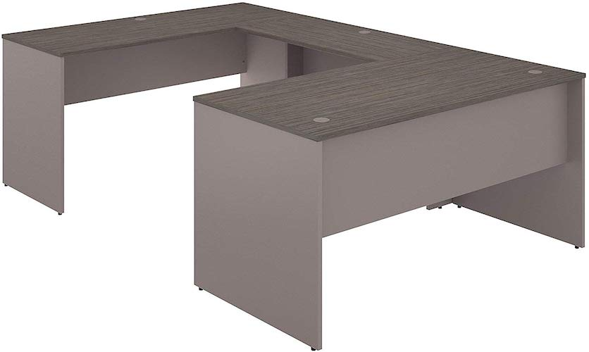 1. Bush Furniture Commerce 60W U Shaped Desk in Cocoa and Pewter