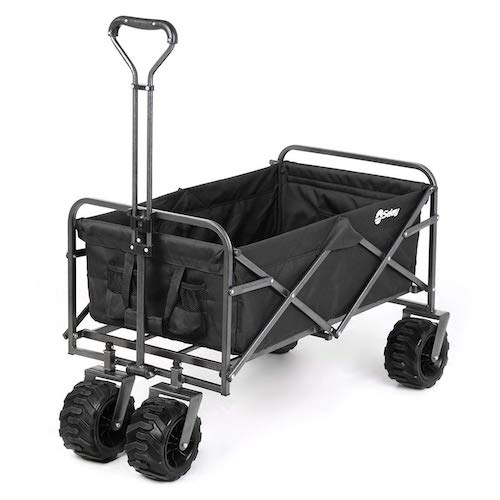 3. Sekey Folding Wagon Cart Collapsible Outdoor Utility Wagon Heavy Duty Beach Wagon with All-Terrain Wheels, 265 Pound Capacity, Black