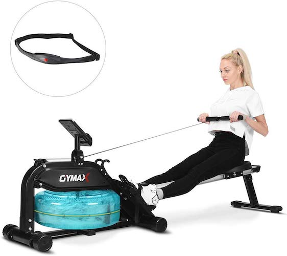 8. Goplus Water Rowing Machine, with Heart Rate Sensor, Indoor Rower