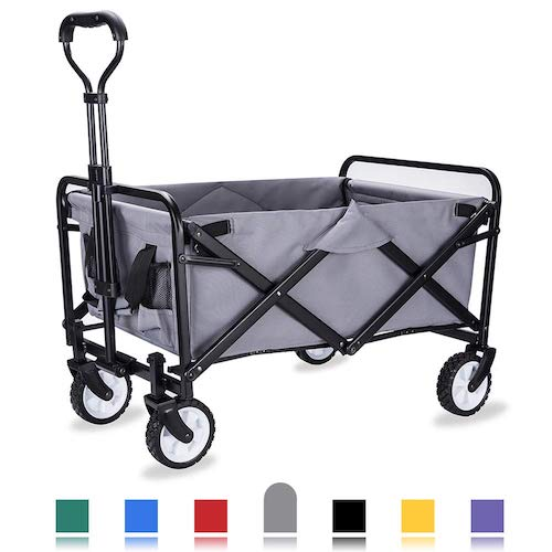 4. WHITSUNDAY Collapsible Folding Garden Outdoor Park Utility Wagon Picnic Camping Cart with Replaceable Cover (Compact Size 5