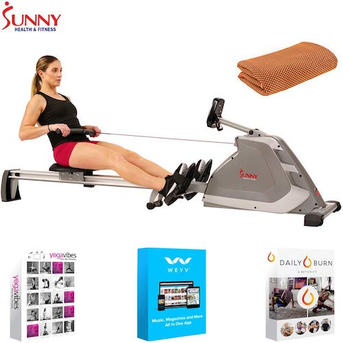 10. Sunny Health and Fitness Programmable Magnetic Rowing Machine